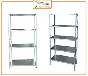 Kit scaffale scaffalatura in metallo acciaio zincato a 4 ripiani 75x30x150 200kg