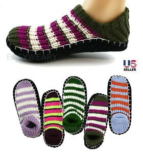 Womens Woven Knit Knitted Slip-On Slippers Socks Shoes Non-Skid House Indoor