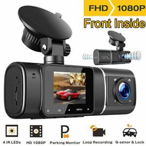 TOGUARD Uber Car DVR FHD Dual Len Dash Cam IR Night Vision Video Recorder Camera