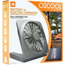 O2COOL 10-Inch Black Battery Operated Compact Portable Air Cooling Table Fan