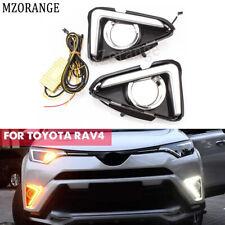 2x LED Daytime Running Light DRL Fog Lamp Turn Signal For Toyota RAV4 2016-2018