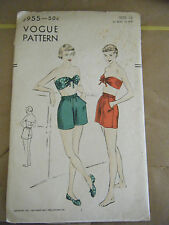 Vintage 1940's Vogue 6955 Bra Top & Boxer Shorts Pattern-Size 12 Bust 30 Hip 33