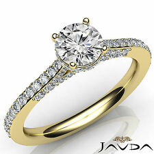 Natural Round Cut Diamond Engagement Pave Ring GIA F VS2 18k Yellow Gold 1.15Ct