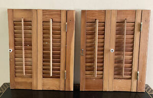 """Two at 20"""" Tall x 16"""" Wide Wood Interior Louver Plantation Window Shutters"""