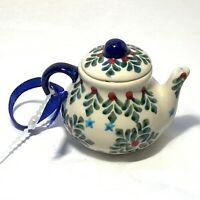 POLISH POTTERY Unikat Teapot CHRISTMAS ORNAMENT Green Red HOLLY NEW ANDAR