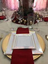 "Square White Disposable Plastic Plates Gold Rim 20 Packs 10(9.5"") & 10(6.5"")"