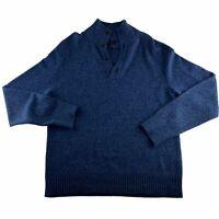 Banana Republic Men's Medium V Neck Sweater Merino Wool Blend Sweater Blue