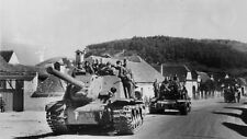 WWII photo ISU-122 and the IS-2 tank on one of the roads of Transylvania /608