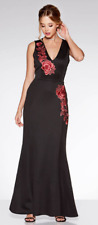 Quiz Black & Red Embroidered Fishtail Maxi Dress Size UK 14 Dh171 AA 15