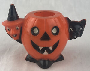 Vintage Rosbro Halloween Candy Container Pumpkin Witch Cat 1950's