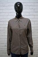 Camicia RALPH LAUREN Donna Taglia L Blusa Manica Lunga Righe Cotone Marrone