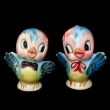 Mint!  Vintage LEFTON PY BLUEBIRD Salt Pepper Shakers - Boy Girl Bird Spice Set