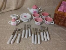 Schylling Butterfly Tea Set Basket, Ceramic, Picnic Basket, Silverware