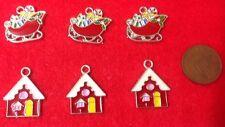 Conjunto de 6 X De Navidad Santa Trineo & Casa Metal Esmalte encantos Para Colgantes (U1)