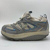 Womens Skechers Shape Ups Walking Shoes, Silver White Blue, Size 9.5.
