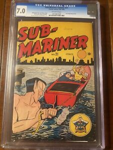 SUB-MARINER #21 1946 TIMELY CBCS 7.0 OW/W SHORES COVER - GREAT COLORS-VERY NICE!