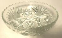 """Clear Pressed Glass 7"""" Wide x 2"""" Tall Bowl With Star of David Vintage"""