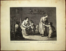 Stampa antica scena domestica Pellegrino dal Colle Maggiotto venezia radierung