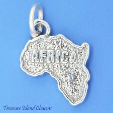 AFRICA CONTINENT MAP .925 Solid Sterling Silver Charm Pendant MADE IN USA