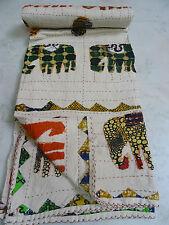 Indian Queen Kantha Quilt Elephant Patch Gudri Handmade Bedspreads Throws 003