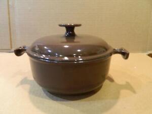 "Le Creuset France ""La Mama De Enzo Mari"" # 17 Brown Covered Two Handle Pot"