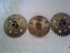 "3 Pc early. 2 ""Cj"" Gear 1 crown Group A.C. Gilbert Erector Set Brass Type"