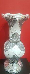 40 CM Long Neck STUNING Crushed Diamond Ceramic Silver Vase Diamante Bling Shiny
