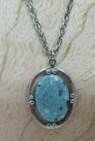 """Turquoise Necklace, 20""""  Silver Chain"""