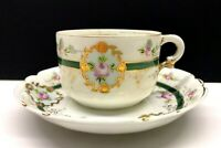 "Kuznetsov Tea Cup&Saucer ""For memory"" Russian Antique Imperial Russia porcelain"