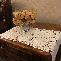 Hand Crochet Cotton Runner Doily Table Place mats Beige Table Cloth Cover 31inch