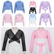 Girls Classic Long Sleeve Wrap Tops Gymnastic Ballet Dance Cardigan Dancewear