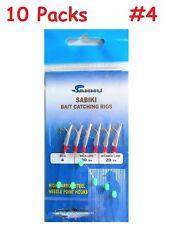 10 Packs size 4 Sabiki Bait Rigs 6 Hooks With Fish Skin Saltwater Fishing Lure