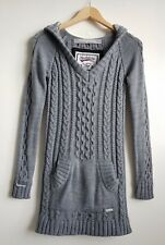 SUPERDRY LADIES LIGHT GREY RIDING HOOD CABLE KNIT JUMPER SIZE S