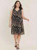 Ex Evans Brown Animal Leopard Print Split Front Sleeveless Dress Plus Size 18-32