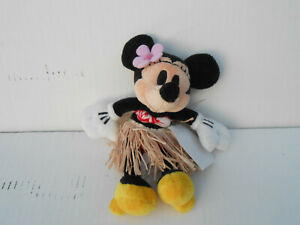 """Disney Store Minnie Mouse In Grass Skirt 8"""" Plush"""