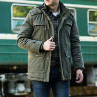 Plus size M-6XL Winter Mens Coat Military Jacket Fleece Lined Hooded Workwear