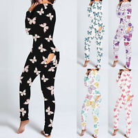 Women Sexy Butterfly Print Romper Jumpsuit Bodysuit Bodycon Buttoned Flap Pajama