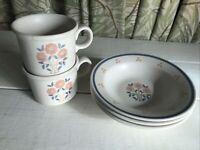 Royal China OHIO Vintage PEACH TREE 2 Cup Mug 3 Bowls