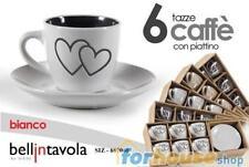 Tazze caffe' gic cuori bicolore c piattini 6 pezzi bellintavola