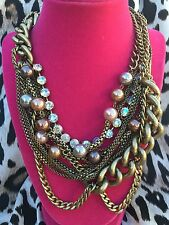 Betsey Johnson Black Label THICK Bronze Chain Pearl Crystal Necklace VERY RARE