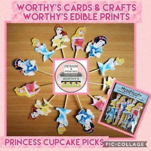 PRINCESS CUPCAKE TOPPERS SET OF 12 BIRTHDAY PARTY CAKE PICKS (SINGLE SIDED)