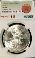 1989 MEXICO SILVER LIBERTAD 1 ONZA NGC MS 66 HIGH GRADE GREAT LUSTER BEAUTY !