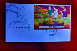 2001 CHRISTMAS IS. YEAR OF SNAKE MINI SHEET FIRSTDAY COVER SNAKE VALLEY POSTMARK