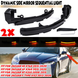 Sequential LED Dynamic Side Mirror Light For Jaguar XE XF XJ F-TYPE XK X250 X260