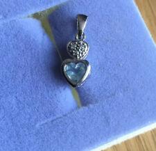 Vintage 9ct White Gold Diamond Aquamarine Trilogy March Triplet Pendant Necklace