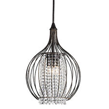 Crystal 3-Light Pendant With Metal Bell Shade, Antique Bronze