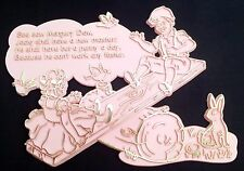 SEE SAW MARGERY DAW Vintage 1969 Nursery Rhyme Plaque Invicta Plastic Pink Gold