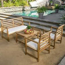 4pc WOOD Table Cushion Bench Sofa Chairs SET Patio Garden POOL Outdoor FURNITURE