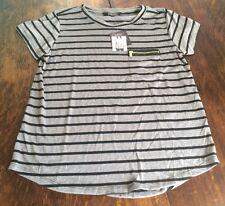 NWT Womens ELLEN TRACY Zipper Pocket Grey Striped Tee Shirt Size XL X-LARGE