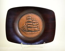 Vintage Cooper Miniature Sailing Ship Mounted on Wood Wall Plate Plaque